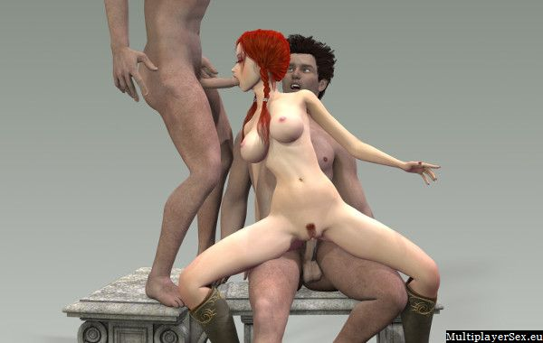 Redhead getting an amazing double penetration