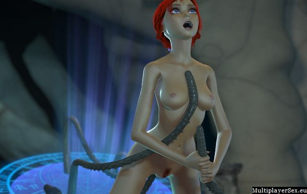 Tentacles making redhead really hot an horny
